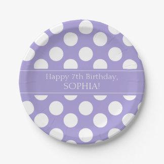 Purple and White Polka Dot Paper Plates