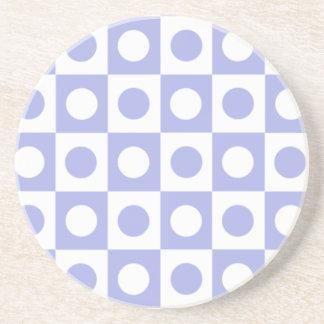 Purple and White Polka Dot Squares Beverage Coasters