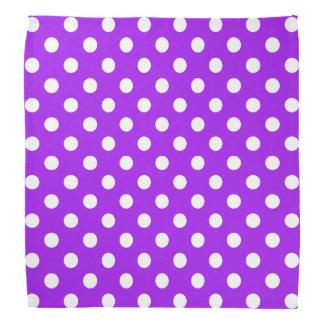 Purple and White Polka Dots Bandana