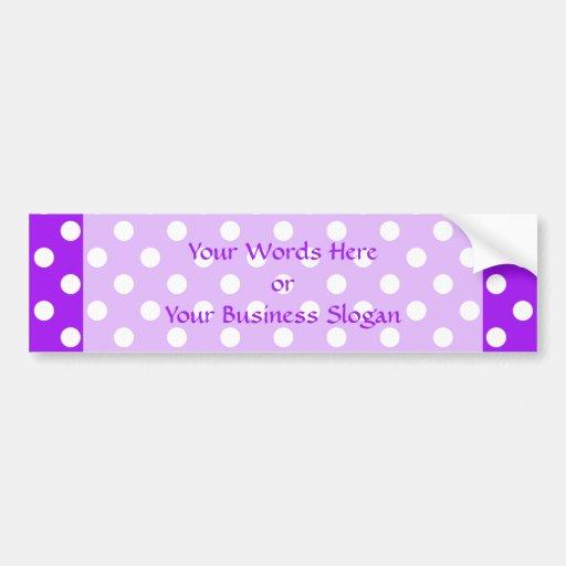 Purple and White Polka Dots Bumper Stickers