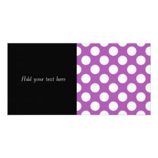 Purple and White Polka Dots Customized Photo Card