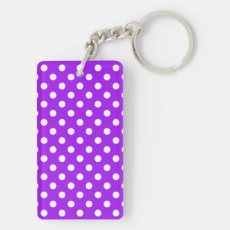 Purple and White Polka Dots Double-Sided Rectangular Acrylic Key Ring