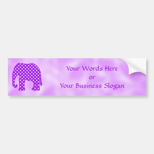 Purple and White Polka Dots Elephant Bumper Stickers