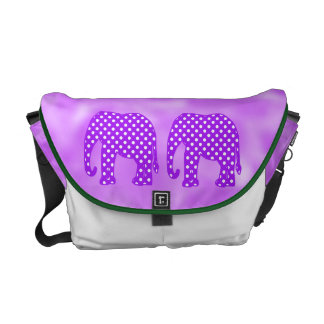 Purple and White Polka Dots Elephant Commuter Bag