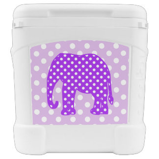 Purple and White Polka Dots Elephant Cooler