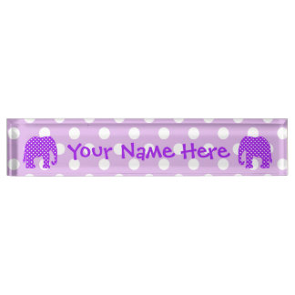 Purple and White Polka Dots Elephant Desk Name Plate