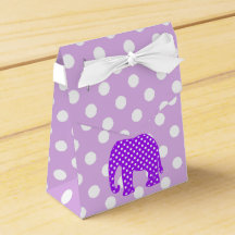 Purple and White Polka Dots Elephant Favor Boxes