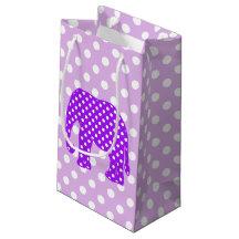 Purple and White Polka Dots Elephant Small Gift Bag