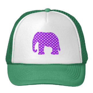 Purple and White Polka Dots Elephant Mesh Hats