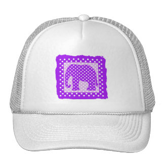 Purple and White Polka Dots Elephant Mesh Hat