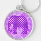 Purple and White Polka Dots Elephant Key Ring