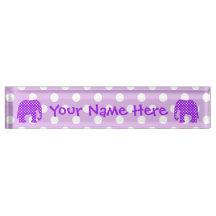 Purple and White Polka Dots Elephant Name Plate