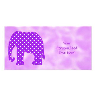 Purple and White Polka Dots Elephant Customized Photo Card