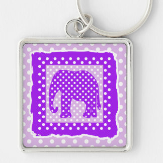 Purple and White Polka Dots Elephant Silver-Colored Square Key Ring