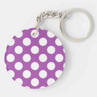 Purple and White Polka Dots Keychain