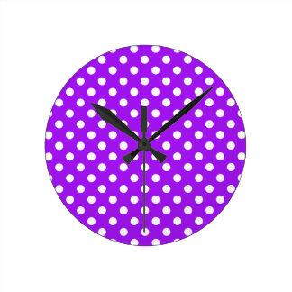 Purple and White Polka Dots Wall Clocks
