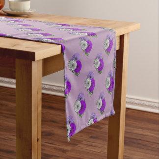 Purple and White Pretty Flowers Design Short Table Runner