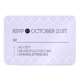 Purple and White Quatrefoil RSVP 9 Cm X 13 Cm Invitation Card