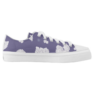 Purple and White Roses Low Tops