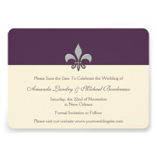 Purple and White Silver Fleur de Lis Save the Date Personalized Invites