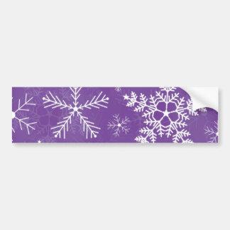 Purple and White Snowflake Pattern Bumper Sticker