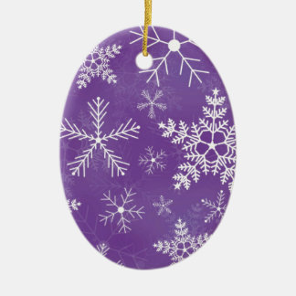 Purple and White Snowflake Pattern Christmas Ornament