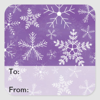 Purple and White Snowflake Pattern Gift Tags Square Stickers