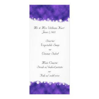 Purple and White Snowflake Reception Menu Personalised Rack Card