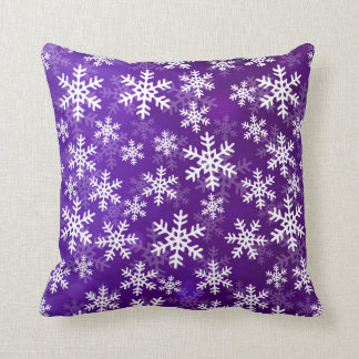 Purple and White Snowflakes Cushion
