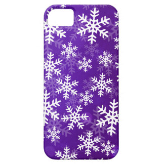 Purple and White Snowflakes iPhone 5 Cover