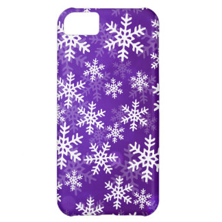 Purple and White Snowflakes iPhone 5C Case