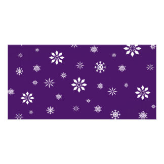 Purple and white snowflakes pattern personalised photo card