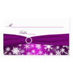 Purple and White Snowflakes Placecards Business Cards