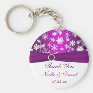 Purple and White Snowflakes Wedding Favor Keychain