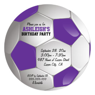 Purple and White Soccer Ball Birthday Party 13 Cm X 13 Cm Square Invitation Card