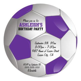 Purple and White Soccer Ball Birthday Party 13 Cm X 13 Cm Square Invitation Card