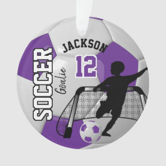 Purple and White Soccer Goalie Boy Ornament