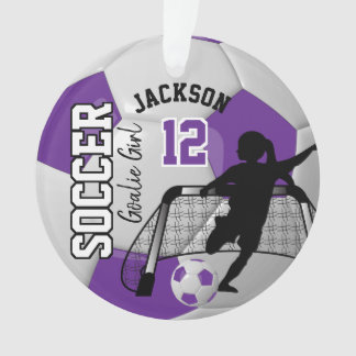 Purple and White Soccer Goalie Girl Ornament