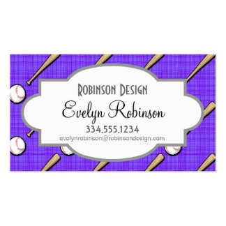 Purple and White Softball Pattern Pack Of Standard Business Cards