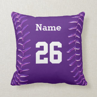 Purple and White Softball Pillow, NAME and NUMBER Cushion