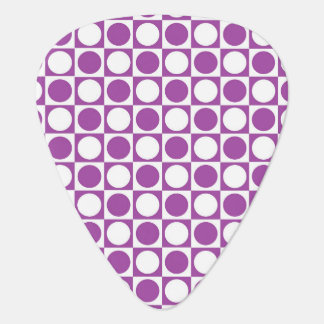 Purple and White Squares and Polka Dots Guitar Pick