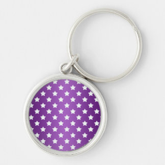 Purple and White Star Pattern Silver-Colored Round Key Ring