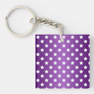 Purple and White Star Pattern Single-Sided Square Acrylic Key Ring