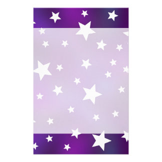 Purple and White Star Pattern Stationery
