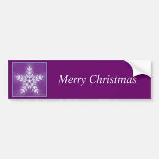 Purple and White Star Snowflake Merry Christmas Car Bumper Sticker