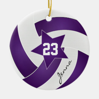 Purple and White Star Volleyball Christmas Ornament