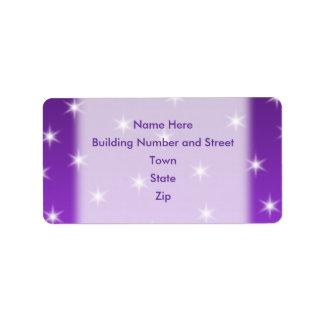 Purple and White Stars, Pattern. Address Label