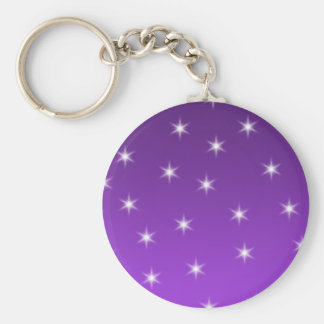 Purple and White Stars, Pattern. Basic Round Button Key Ring