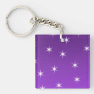 Purple and White Stars Pattern Acrylic Key Chain