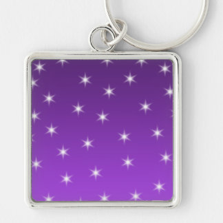Purple and White Stars, Pattern. Keychains